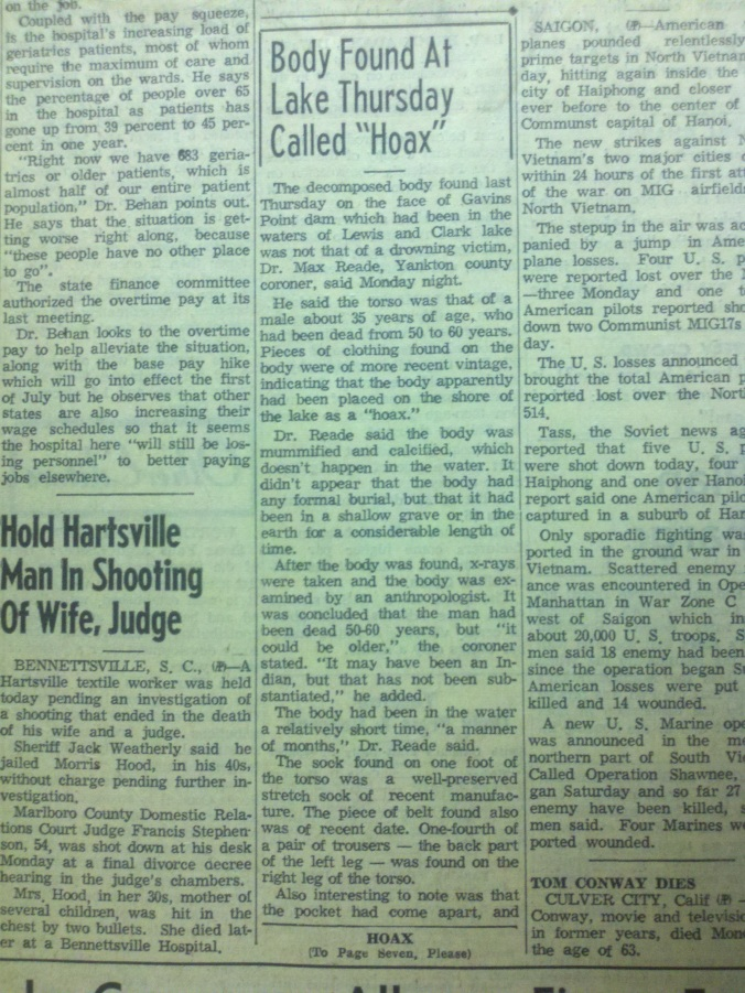 This is the actual Press & Dakotan story about the corpse found on the face of Gavins Point Dam in 1967.