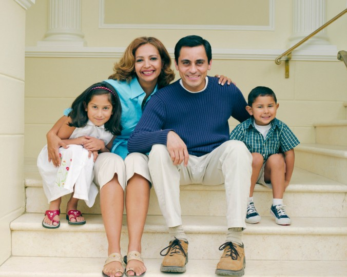 Portrait of Smiling Family on Steps